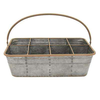 16.5 in. x 10.25 in. Metal Basket in Gray