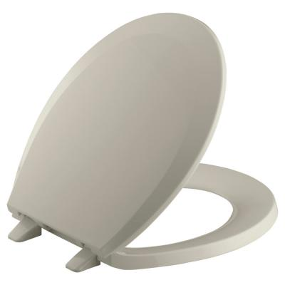 Lustra Round Closed-Front Toilet Seat with Quick-Release Hinges in Sandbar