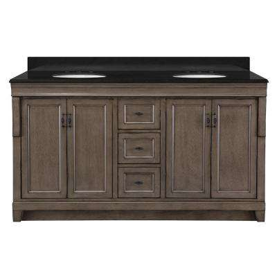 Naples 61 in. W x 22 in. D Vanity in Distressed Grey with Granite Vanity Top in Black with White Basins