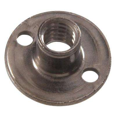 1/4 in.-20 x 5/16 in. x 3/4 in. Stainless Steel Round Base Brad Hole Tee Nut (15-Pack)