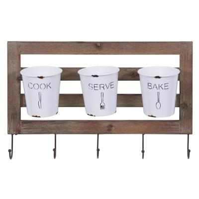 Hanging Metal Utensil Caddy with Hooks and Tin Buckets