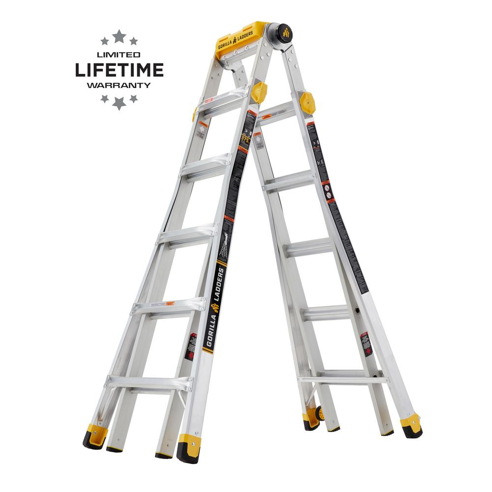 Gorilla Ladders 23 ft. Reach MPXT Aluminum Multi-Position Ladder with Project Top, 375 lbs. Load Capacity Type IAA Duty Rating