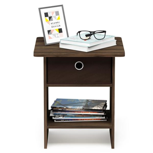 Furinno Home Living Columbia Walnut/Dark Brown End Table/Night Stand Storage