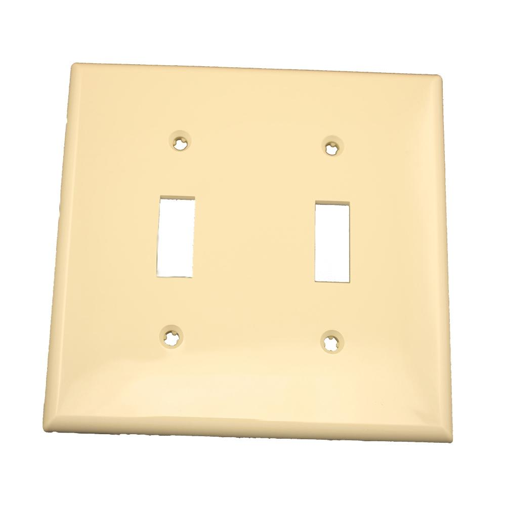 2-Gang 2-Toggle Standard Size Heavy Duty Nylon Wall Plate, Ivory