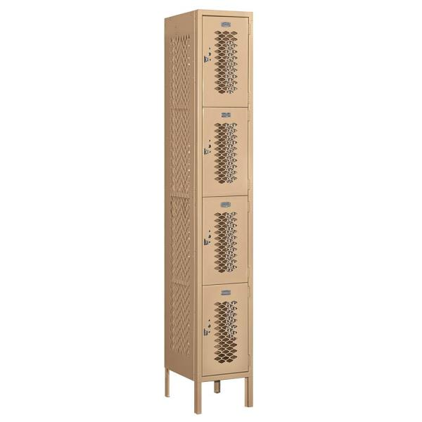 Salsbury Industries 74000 Series 4 Tier 12 In W X 78 In H X 15 In D Vented Metal Locker Assembled In Tan 74165tn A The Home Depot