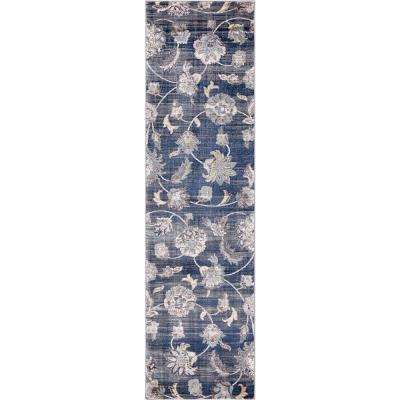 Olympus Petals Navy Rectangle Indoor 2 ft. x 7 ft. Runner Rug