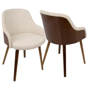 Admirable Lumisource Bacci Mid Century Modern Walnut And Cream Fabric Pabps2019 Chair Design Images Pabps2019Com