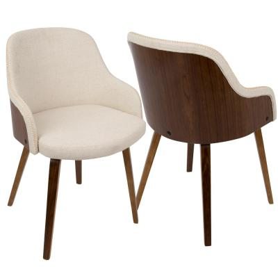 Bacci Mid-Century Modern Walnut and Cream Fabric Dining/Accent Chair in Wood