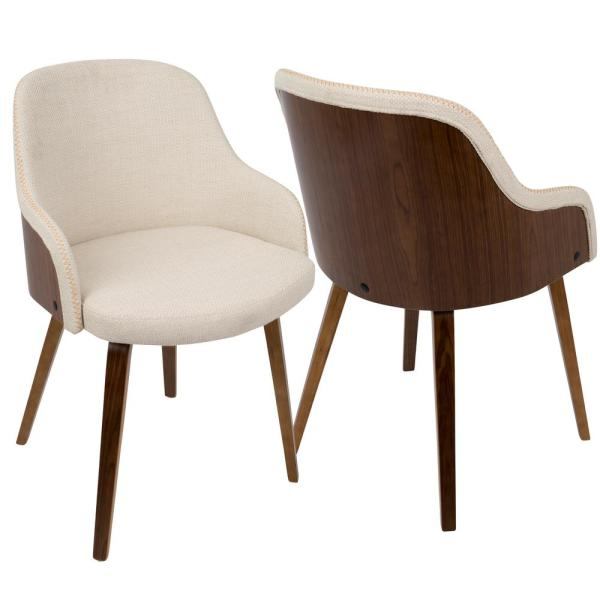 Bacci Mid Century Modern Walnut And Cream Fabric Dining/Accent Chair In Wood
