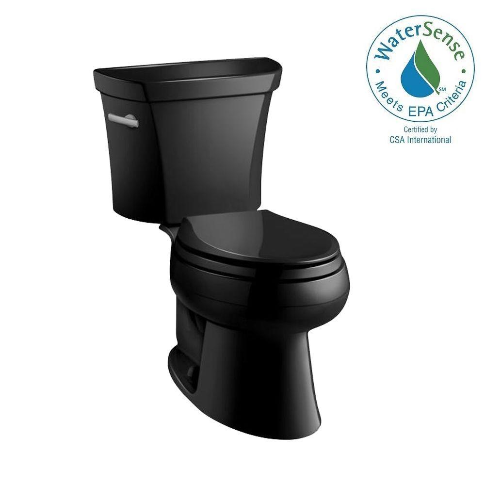 Wellworth Classic 2-piece 1.0 GPF Single Flush Elongated Toilet in Black Black