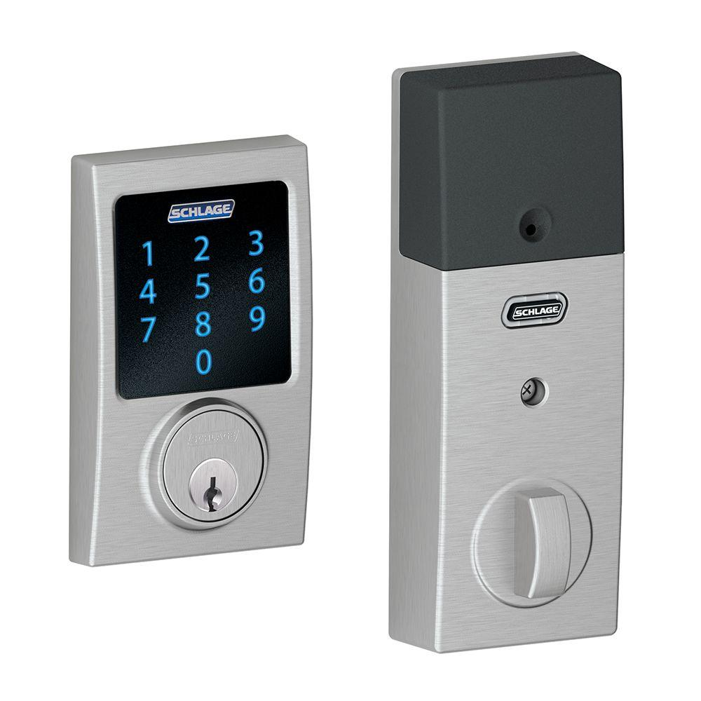 Century Satin Chrome Connect Smart Door Lock with Alarm