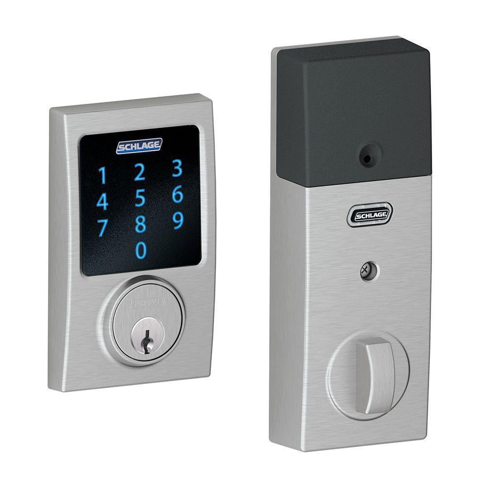 Century Satin Chrome Connect Smart Door Lock with Alarm