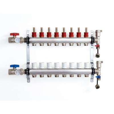 1 in. NPT Inlet x 1/2 in.  Stainless Steel Compression Connection 8-Outlet Radiant Heating Manifold