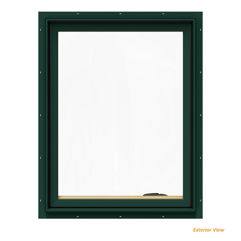 JELD-WEN 24.75 in. x 36.75 in. W-2500 Series Green Painted Clad Wood Right-Handed Casement Window with BetterVue Mesh Screen
