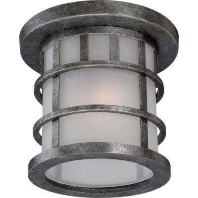 Aiden Aged Silver 2-Light Outdoor Flush Mount