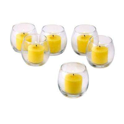Clear Glass Hurricane Votive Candle Holders with Citronella Yellow Votive Candles (Set of 12)