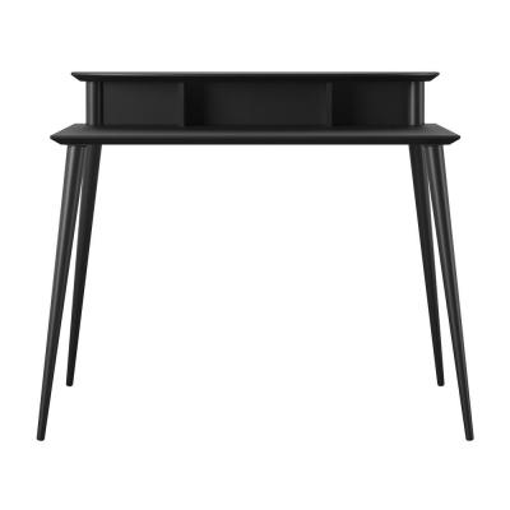 42 in. Rectangular Black Wood Computer Desk with Shelf
