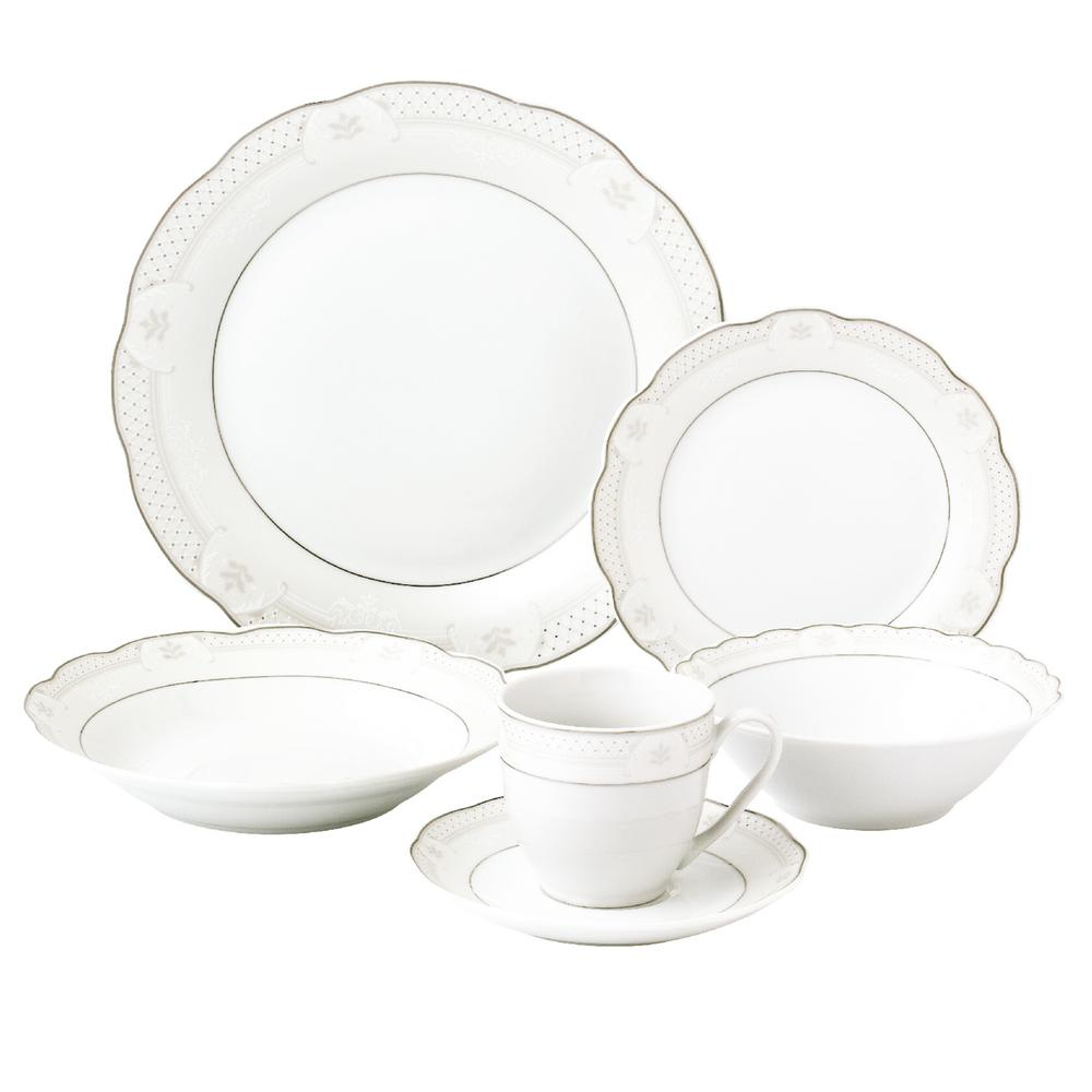 Lorren Home Trends 24-Piece Silver Wavy Dinnerware-Porcelain-Service for 4-  sc 1 st  The Home Depot & Lorren Home Trends 24-Piece Silver Wavy Dinnerware-Porcelain-Service ...