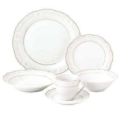24-Piece Silver Wavy Dinnerware-Porcelain-Service for 4-Atara