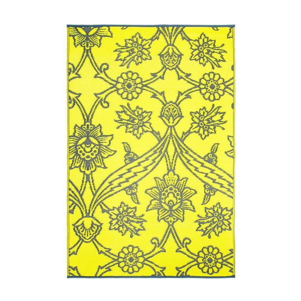 Achla Designs Yellow Flowers 4 ft. x 6 ft. Indoor/Outdoor Area Rug, Yellow Gray Achla Designs Yellow Flowers 4 ft. x 6 ft. Indoor/Outdoor Area Rug, Yellow Gray