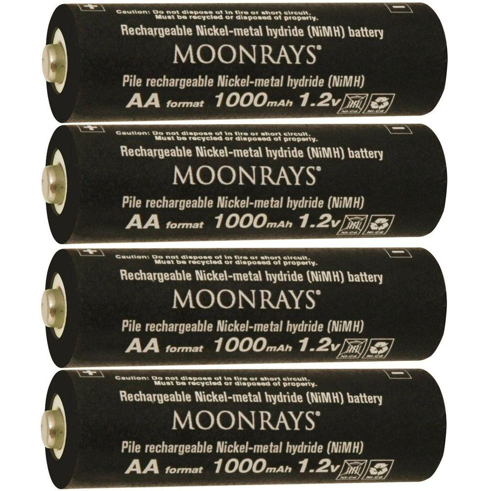 Moonrays Rechargeable 1,000mAh NiMh AA Batteries for Sola...