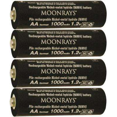 Rechargeable 1,000mAh NiMh AA Batteries for Solar Powered Units (4-Pack)