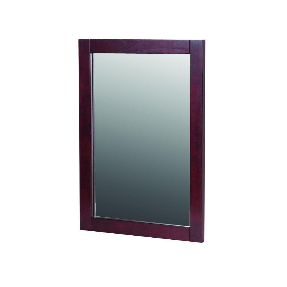 20 in. W x 27 in. H Framed Rectangular Bathroom Vanity Mirror in Dark Cherry
