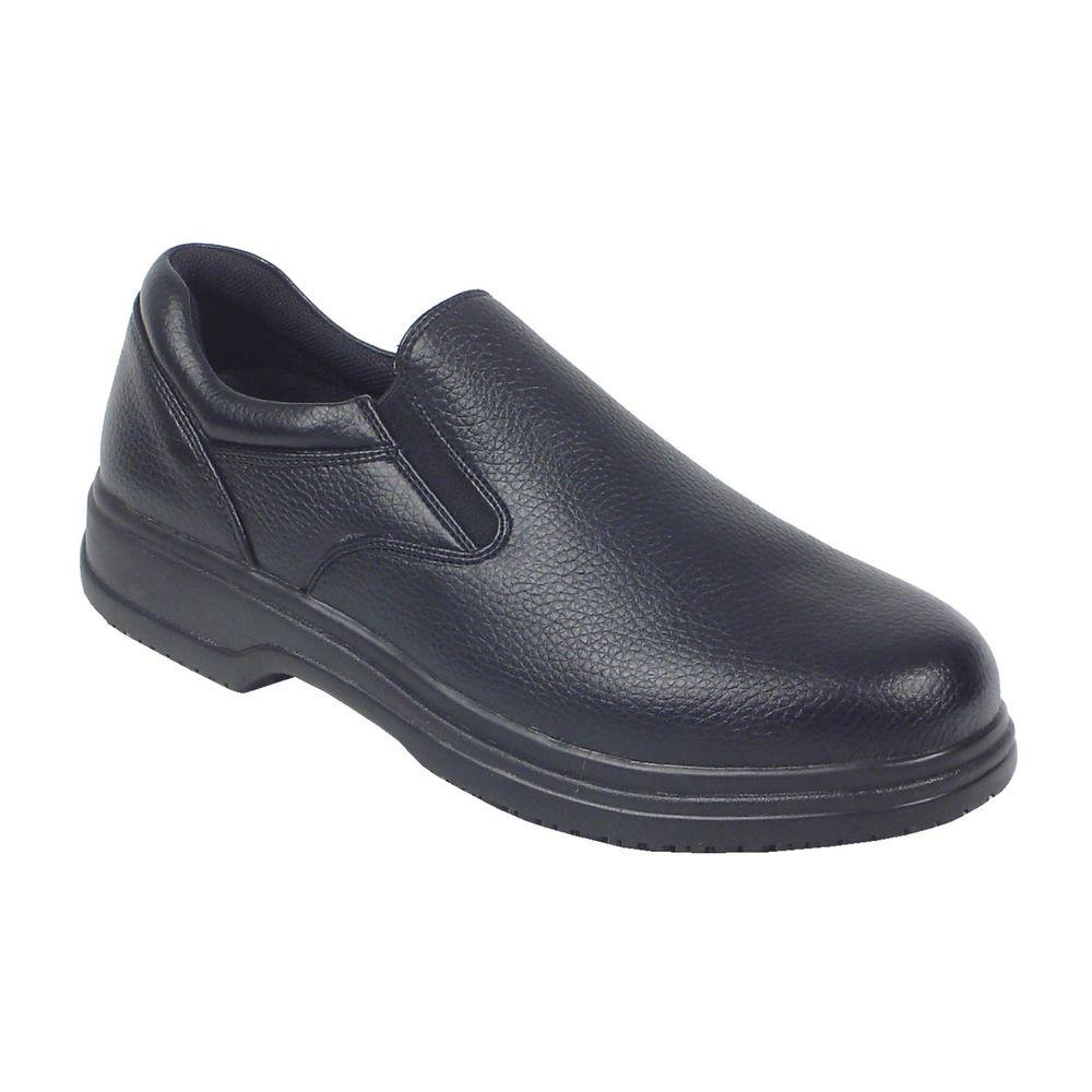 Manager Black Size 10 Wide Plain Toe Utility Slip-on Shoe for
