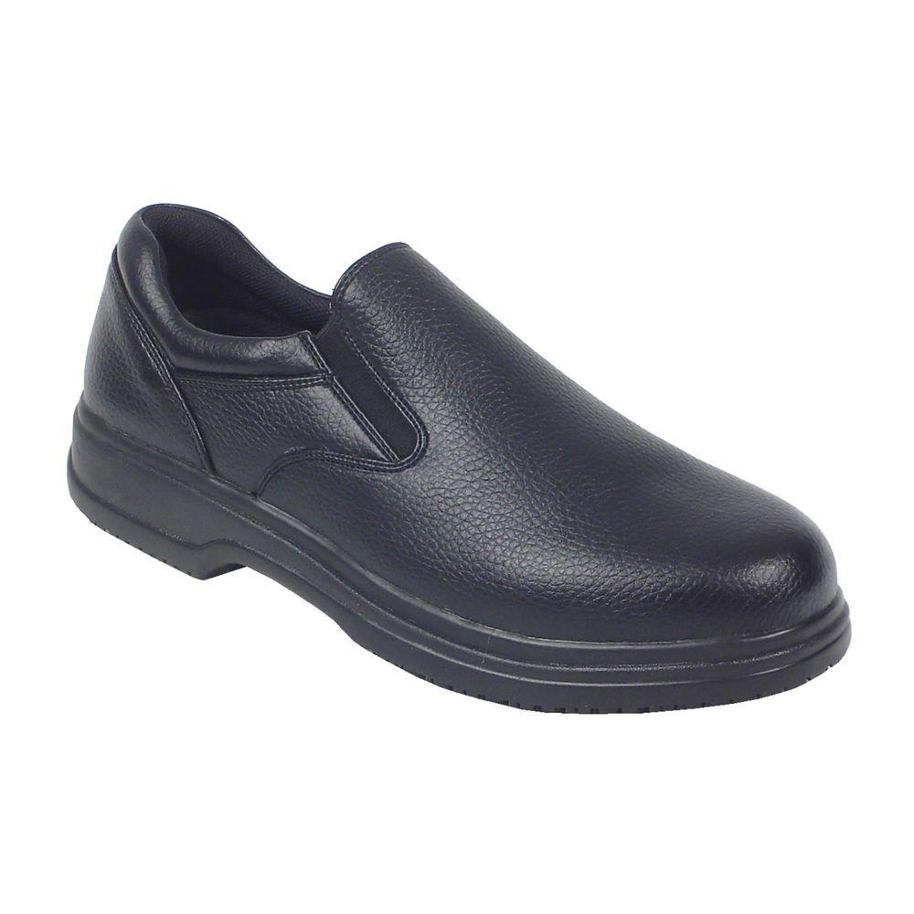 Manager Black Size 12 Wide Plain Toe Utility Slip-on Shoe for