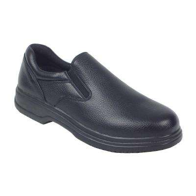 Manager Black Size 8 Wide Plain Toe Utility Slip-on Shoe for Men