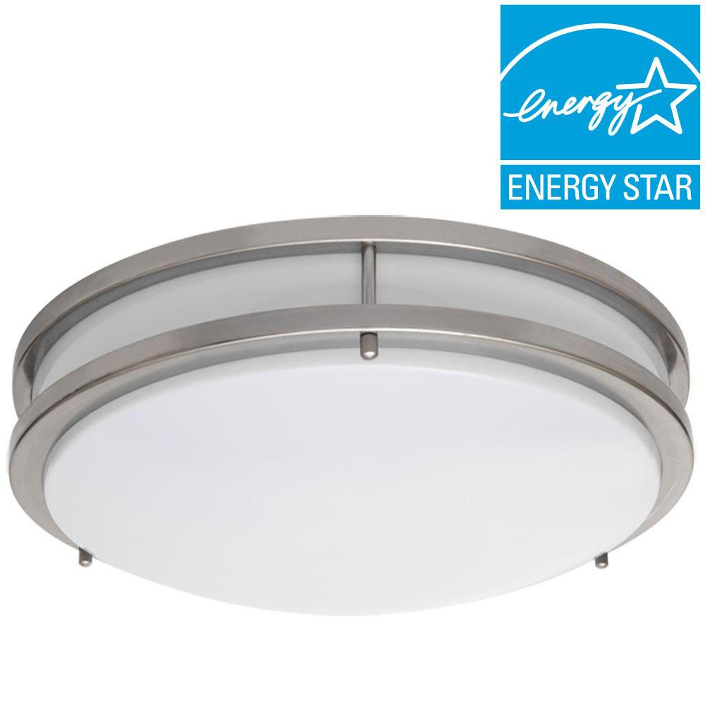 Led Light Enclosed Fixture: Amax Lighting JR Brushed Nickel Indoor LED Flush Mount-LED