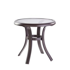 Hampton Bay Statesville Pewter Aluminum Outdoor Side Table by Hampton Bay