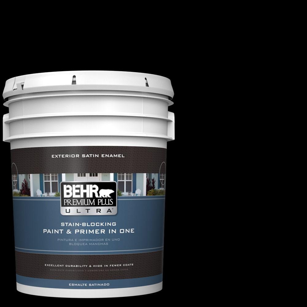 Behr Premium Plus Ultra 5 Gal Black Satin Enamel Exterior Paint And Primer In One 985305 The