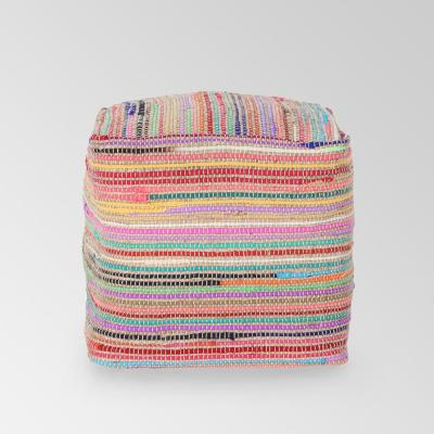 Paisley Multicolored Cube Pouf