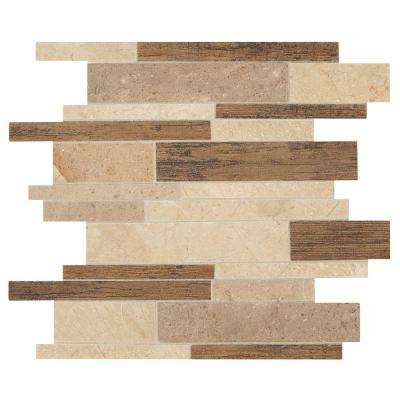 Montagna Saddle stone 12 in. x 15 in. x 10 mm Stone and Porcelain Linear Mosaic Tile