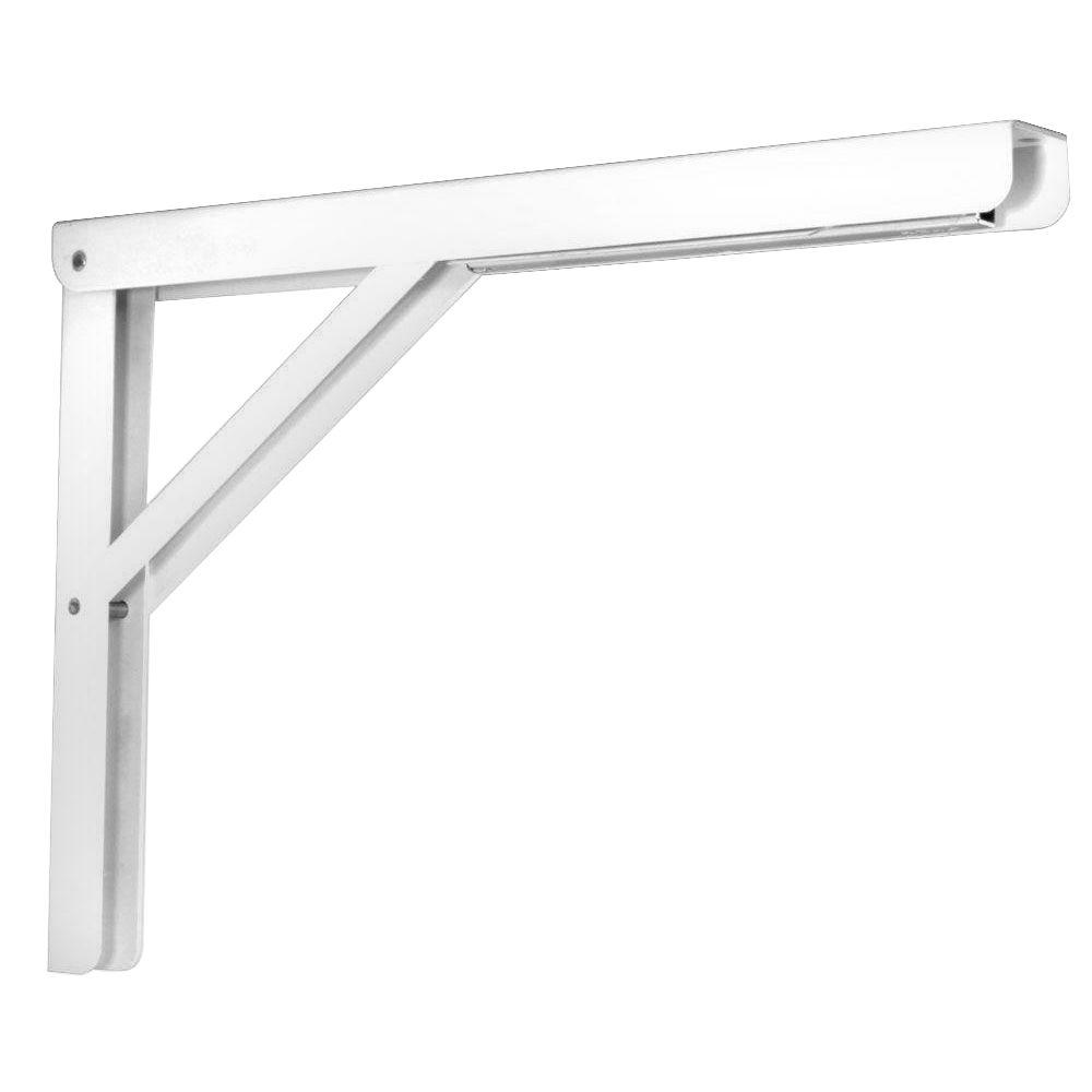 Heavy Duty Folding Shelf Bracket in White HD 206 16WH   The Home Depot. Knape   Vogt 16 in  Heavy Duty Folding Shelf Bracket in White HD