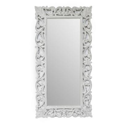 36-in by 18-in Rustic Framed Rectangle White Melin Carved Mirror