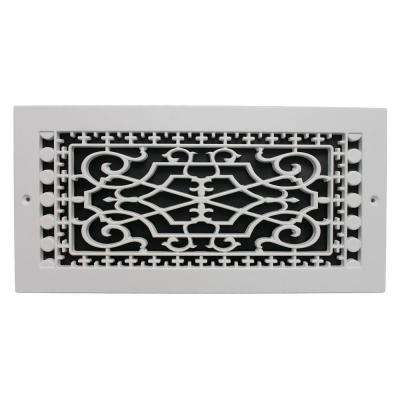 Victorian Wall Mount 6 in. x 14 in. Opening, 8 in. x 16 in. Overall Size, Polymer Decorative Return Air Grille, White