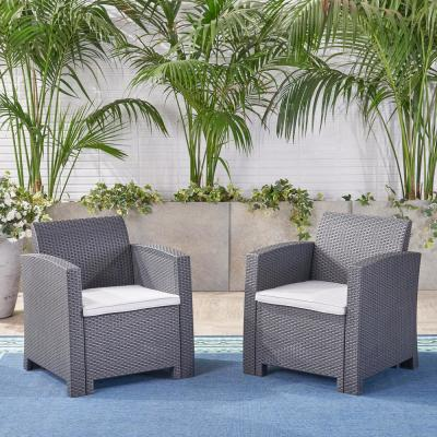 St. Johns Charcoal Removable Cushions Wicker Outdoor Lounge Chair with Light Grey Cushions (2-Pack)