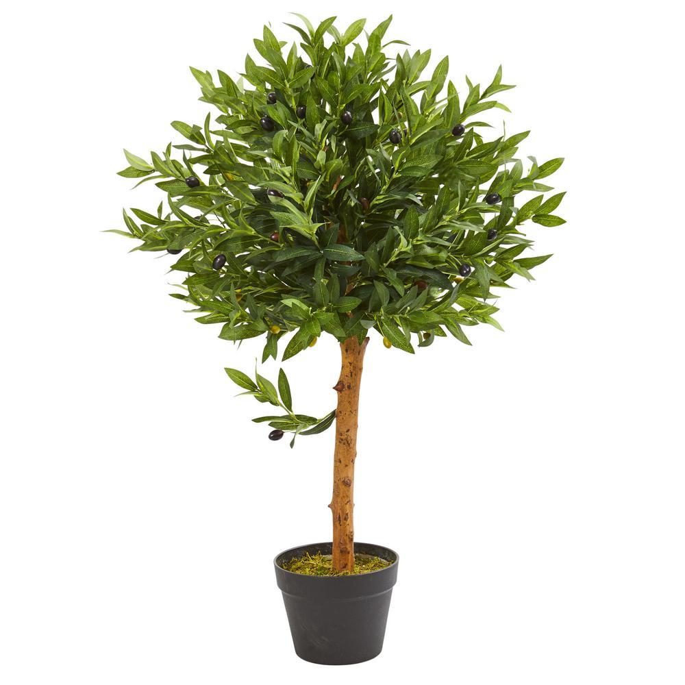 34 in. Indoor/Outdoor Olive Topiary Artificial Tree