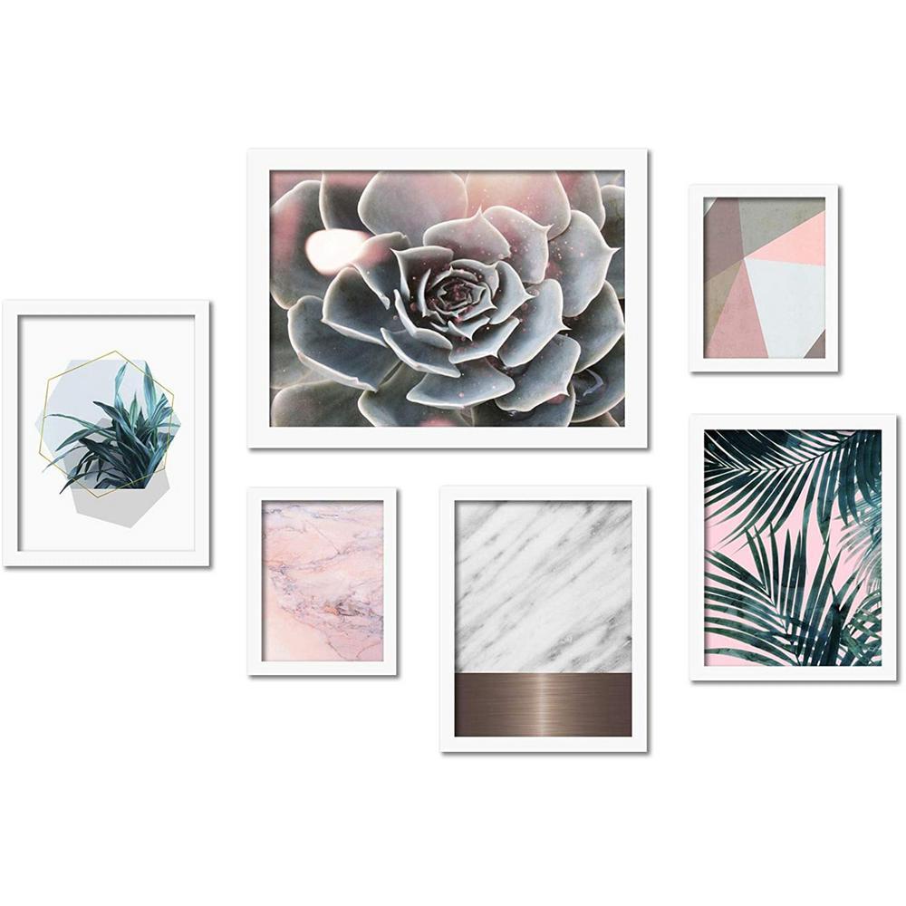 Modern Succulent and Palms 6-Piece White Framed Art Set by Emanuela Carratoni