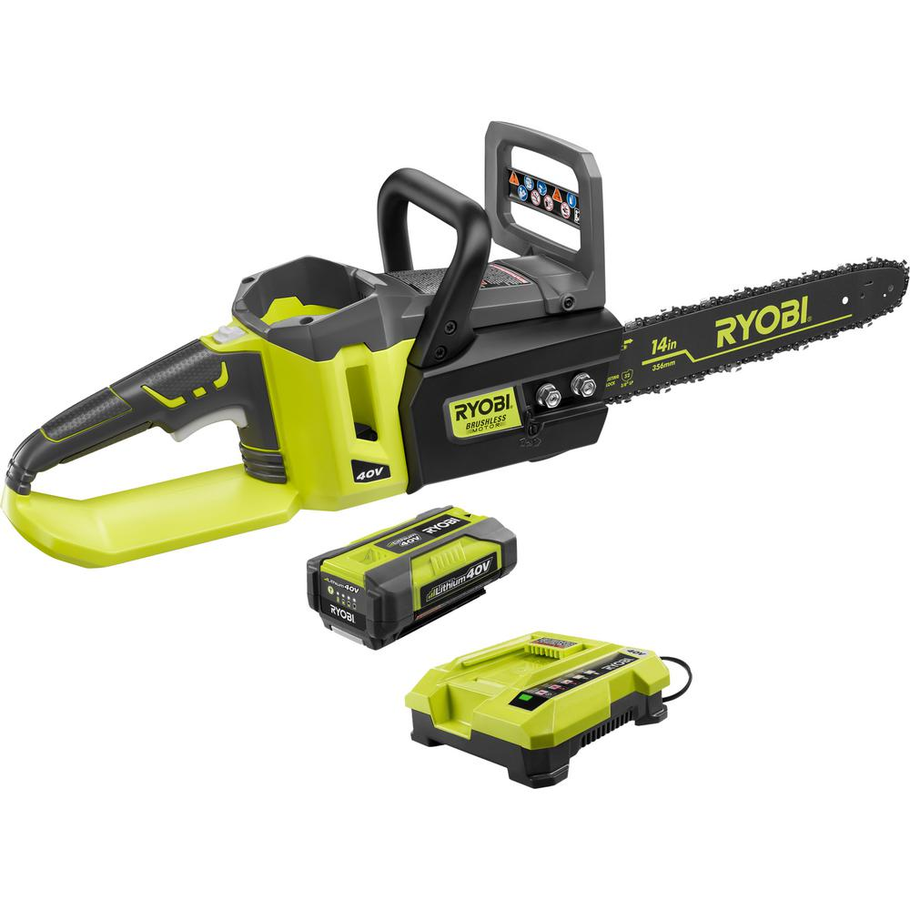 RYOBI 14 in. 40-Volt Brushless Lithium-Ion Cordless Chainsaw 1.5 Ah Battery and Charger Included