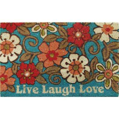 Fiesta Blue 20 in. x 46 in. Coir Outdoor Mat