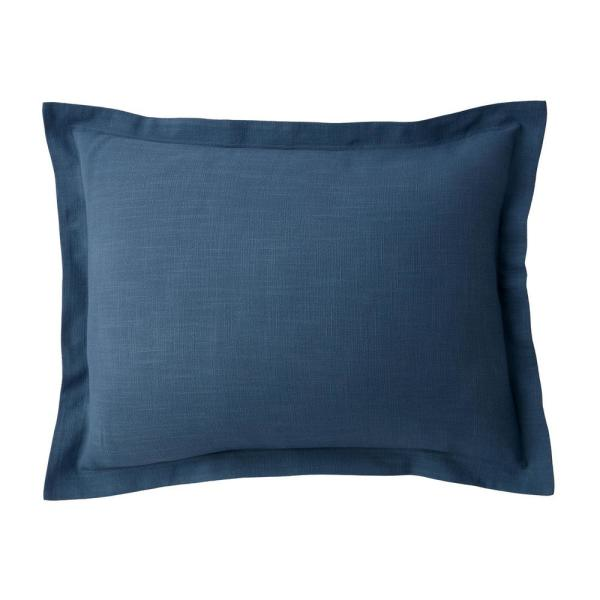 Asher Smoke Blue Solid Cotton King Sham