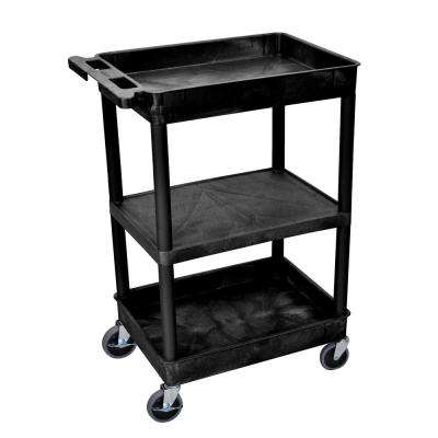 STC 24 in. 3-Shelf Utility Cart in Black