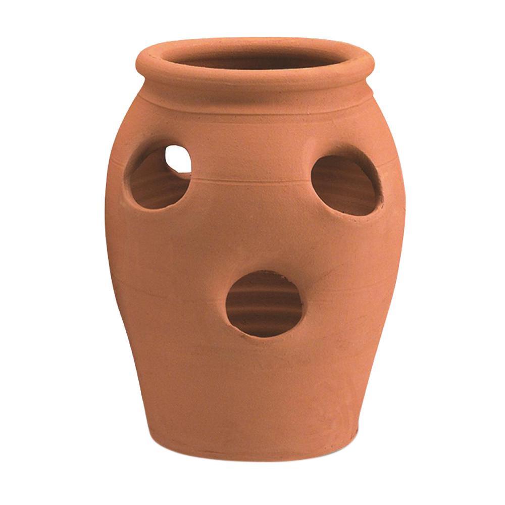 Pennington 2 Gal. 6 Pocket Terra Cotta Strawberry Clay Jar