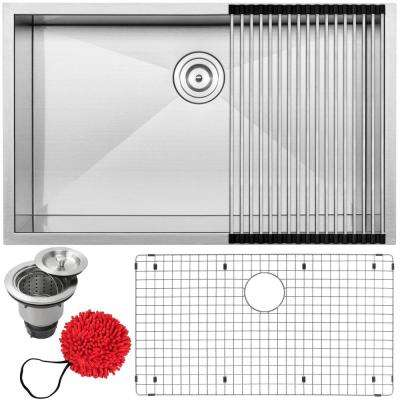 Pacific Zero Radius Undermount Series 16-Gauge Stainless Steel 32 in. Single Basin Kitchen Sink with Accessory Kit
