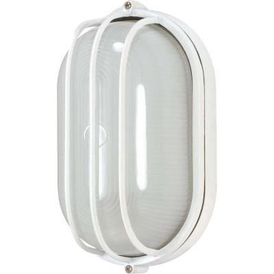 1-Light Outdoor Semi Gloss White Oval Cage Bulk Head with Die Cast