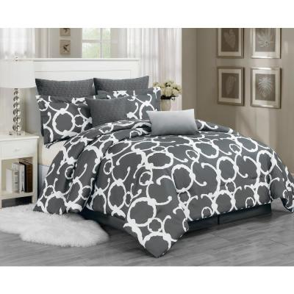 Rhys 7-Piece Grey Queen Comforter Set