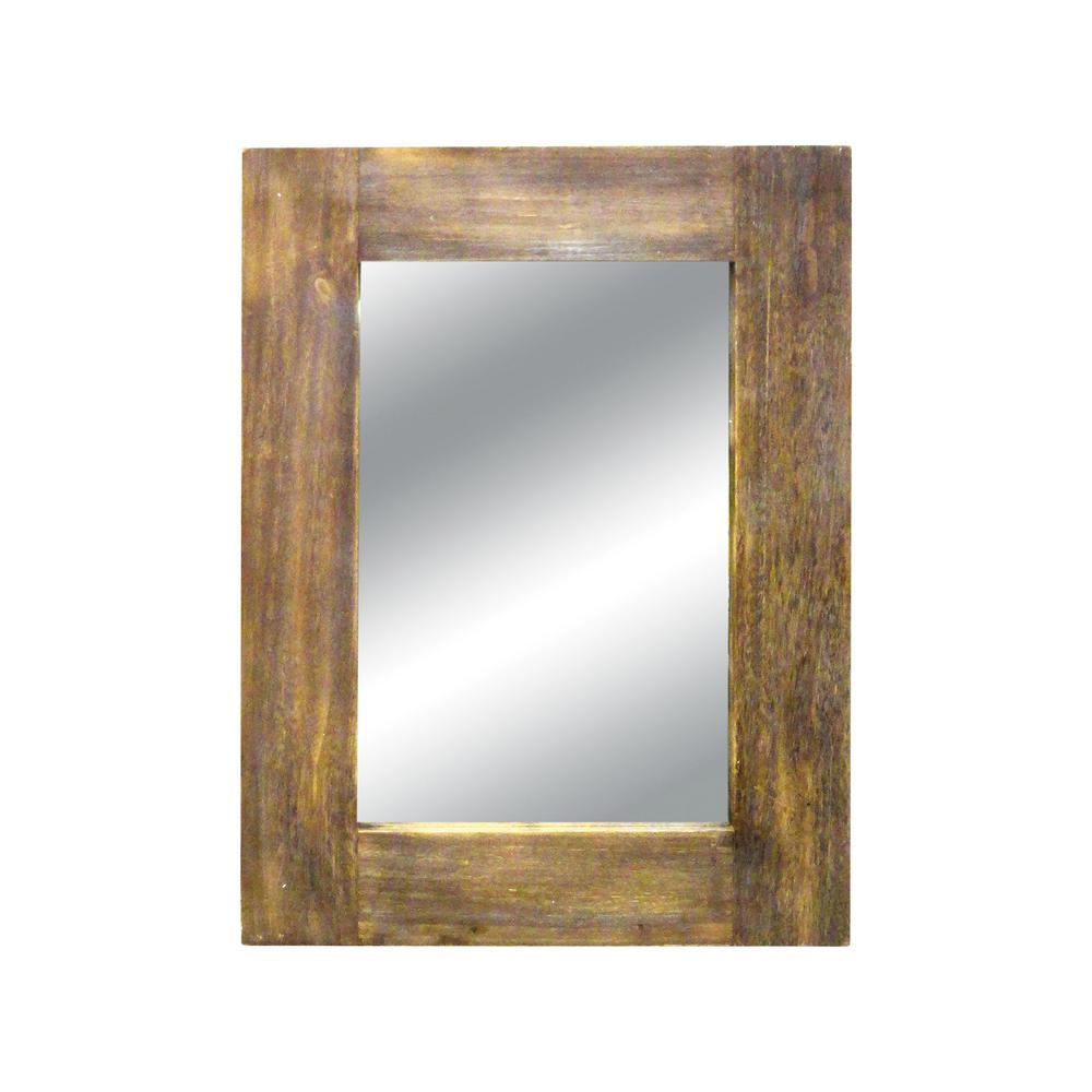 Titan Lighting Canal 42 In X 32 In Wood Framed Mirror Tn